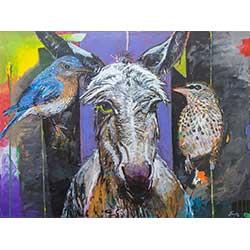 1056 - Ezel met 2 vogels